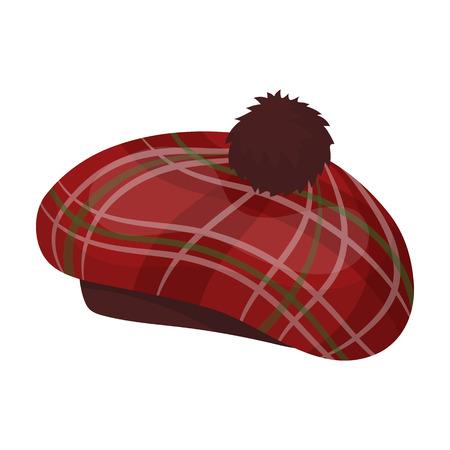 흰색 배경에 고립 된 만화 스타일 스코틀랜드의 전통 모자 아이콘. 스코틀랜드 국가 상징 주식 벡터 일러스트 레이 션.