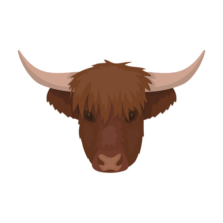 Highland cattle head icon in cartoon style isolated on white background. Scotland country symbol stock vector illustration.