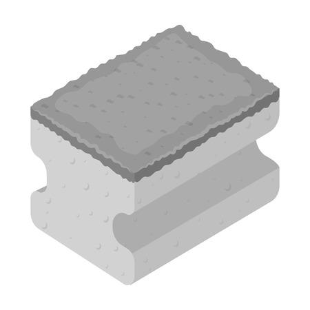 lavar platos: Dishwashing sponge icon in monochrome style isolated on white background. Cleaning symbol stock vector illustration.