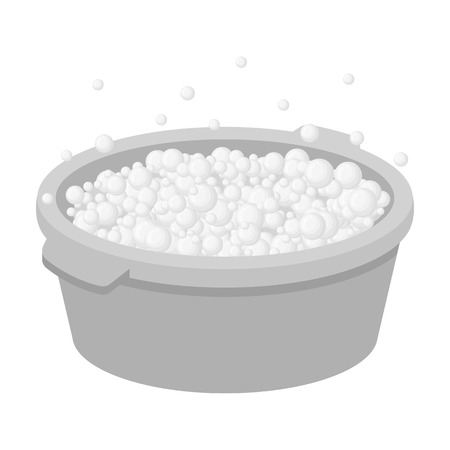 suds: Basin with soap suds and water icon in monochrome style isolated on white background. Cleaning symbol stock vector illustration.