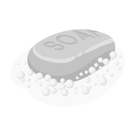 Soap icon in monochrome style isolated on white background. Cleaning symbol stock vector illustration. Illustration