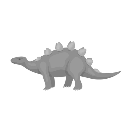 Dinosaur Stegosaurus icon in monochrome style isolated on white background. Dinosaurs and prehistoric symbol stock vector illustration.