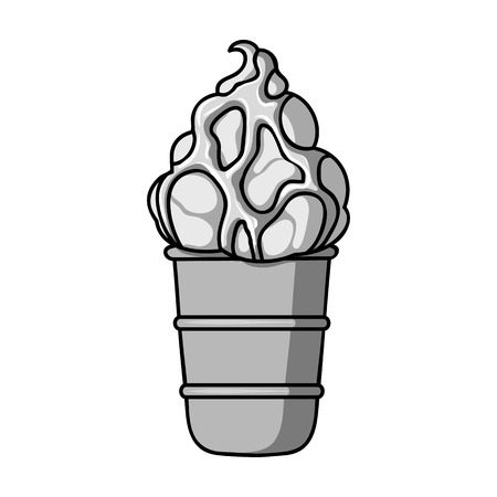Ice cream in waffle cup icon in monochrome style isolated on white background. Ice cream symbol stock vector illustration. Illustration