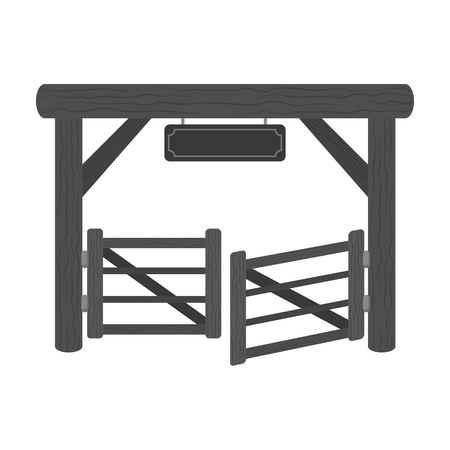 Paddock gate icon in monochrome style isolated on white background. Rodeo symbol stock vector illustration. Illustration