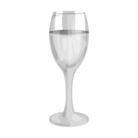 Glass of white wine icon in monochrome style isolated on white background. Wine production symbol stock vector illustration.