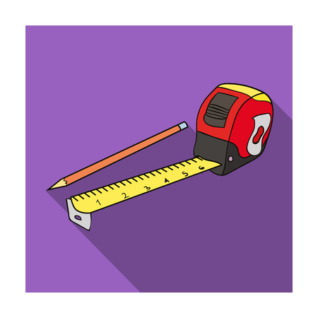 cintas metricas: Tape measure and pencil icon in flat style isolated on white background. Architect symbol stock vector illustration.
