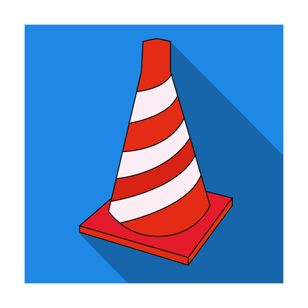 Traffic cone icon in flat style isolated on white background. Architect symbol stock vector illustration.