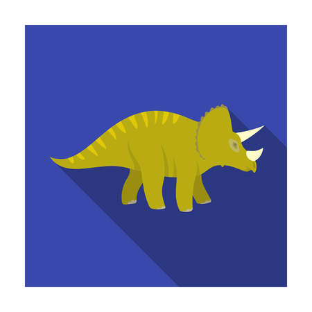 Dinosaur Triceratops icon in flat style isolated on white background. Dinosaurs and prehistoric symbol stock vector illustration.