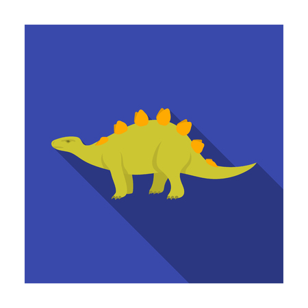 Dinosaur Stegosaurus icon in flat style isolated on white background. Dinosaurs and prehistoric symbol stock vector illustration.