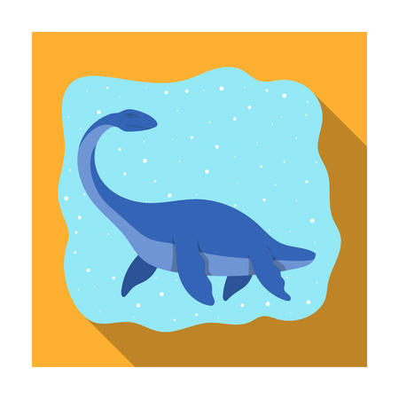 Sea dinosaur icon in flat style isolated on white background. Dinosaurs and prehistoric symbol stock vector illustration. Illustration