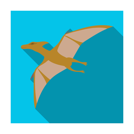 pterodactyl: Dinosaur Pterodactyloidea icon in flat style isolated on white background. Dinosaurs and prehistoric symbol stock vector illustration.