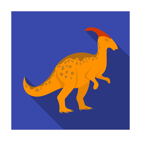 Dinosaur Parasaurolophus icon in flat style isolated on white background. Dinosaurs and prehistoric symbol stock vector illustration.