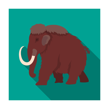 Mammoth icon in flat style isolated on white background. Dinosaurs and prehistoric symbol stock vector illustration. Illustration