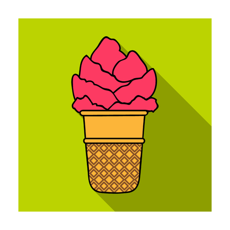 Ice cream in waffle cup icon in flat style isolated on white background. Ice cream symbol stock vector illustration. Illustration