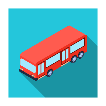 commuter: Bus icon in flat style isolated on white background. Transportation symbol stock vector illustration.