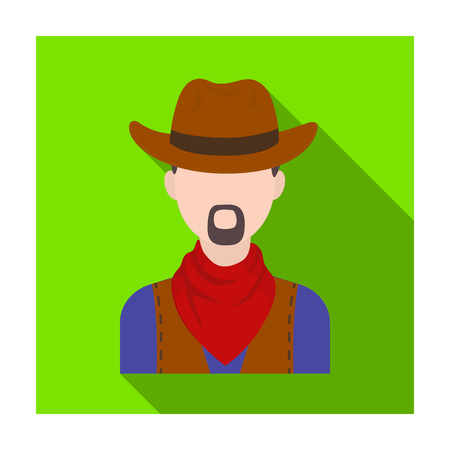 Cowboy icon in flat style isolated on white background. Rodeo symbol stock vector illustration.