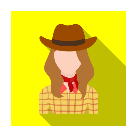 Cowgirl icon in flat style isolated on white background. Rodeo symbol stock vector illustration.