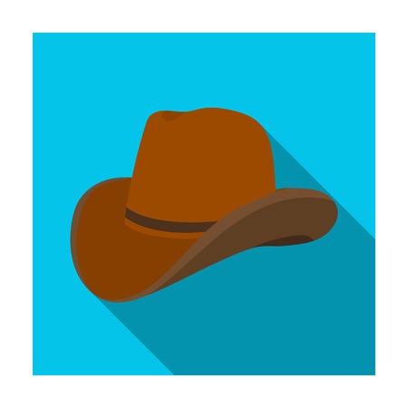 Cowboy hat icon in flat style isolated on white background. Rodeo symbol stock vector illustration. Illustration