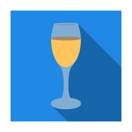 Glass of white wine icon in flat style isolated on white background. Wine production symbol stock vector illustration. Illustration