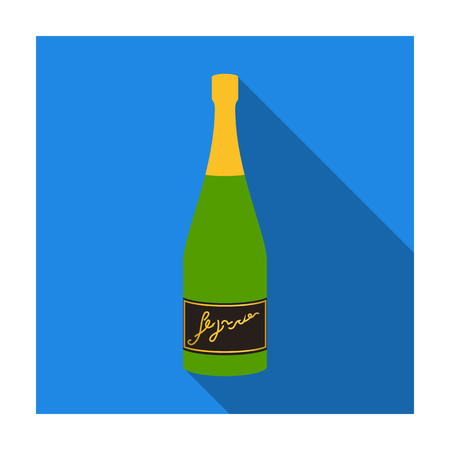 Bottle of champagne icon in flat style isolated on white background. Wine production symbol stock vector illustration. Stock Illustratie