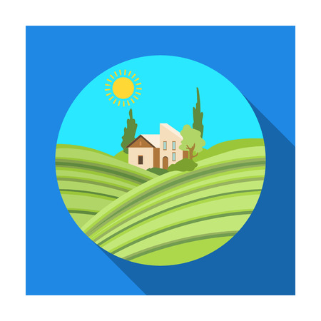 Lodge with vineyards icon in flat style isolated on white background. Wine production symbol stock vector illustration. Illustration
