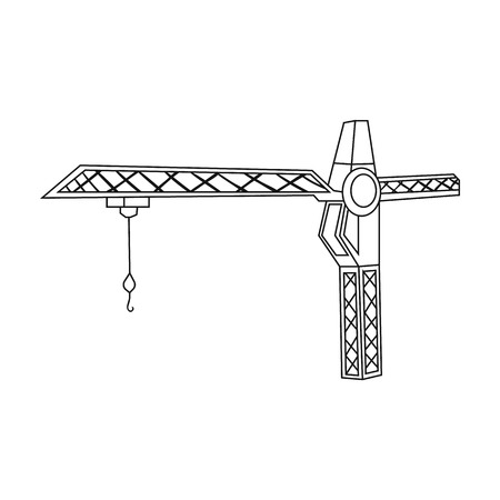 Building crane icon in outline style isolated on white background. Architect symbol stock vector illustration.