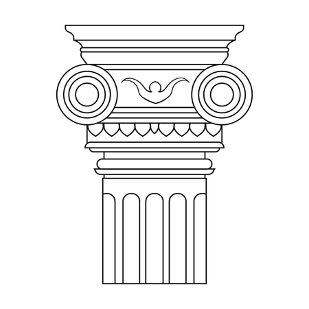 column icon: Column icon in outline style isolated on white background. Architect symbol stock vector illustration. Illustration