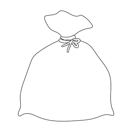 Garbage icona di borsa in stile contorno isolato su sfondo bianco. Pulizia simbolo illustrazione stock vettoriale. Vettoriali