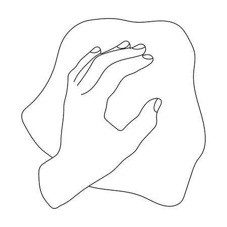 Limpieza por el icono del trapo en estilo del esquema aislado en el fondo blanco. Símbolo de limpieza ilustración vectorial stock.
