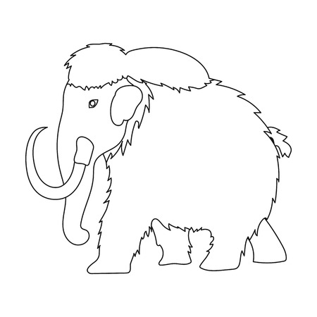 Mammoth icon in outline style isolated on white background. Dinosaurs and prehistoric symbol stock vector illustration. Illustration