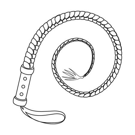 白い背景に分離されたアウトライン スタイルのアイコンを鞭します。ロデオ シンボル株式ベクトル イラスト。
