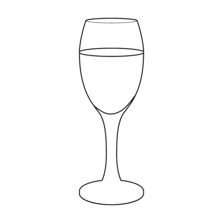 Glass of white wine icon in outline style isolated on white background. Wine production symbol stock vector illustration.