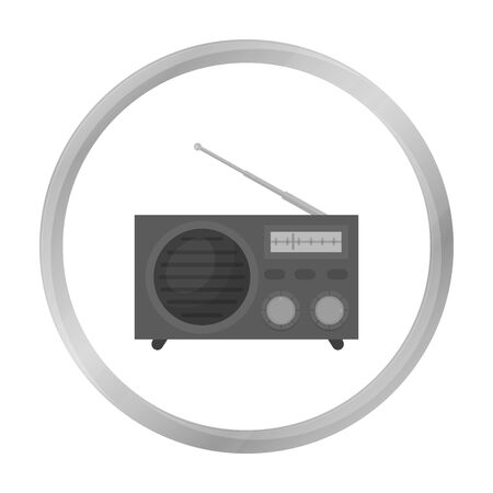 am radio: Radio advertising icon in monochrome style isolated on white background. Advertising symbol stock vector illustration.