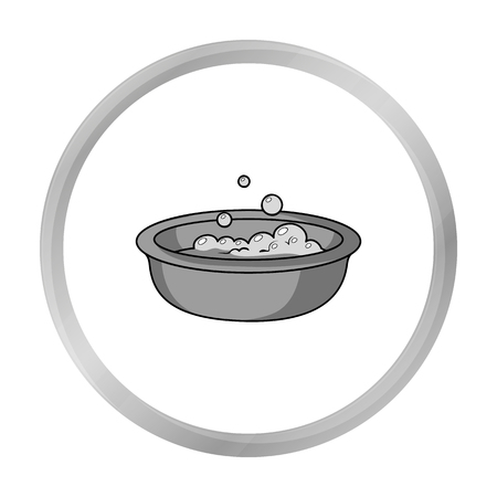 bathtime: Baby bath icon in monochrome style isolated on white background. Baby born symbol stock vector illustration.