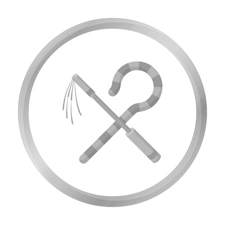Crook and flail icon in monochrome style isolated on white background. Ancient Egypt symbol stock vector illustration. Illustration