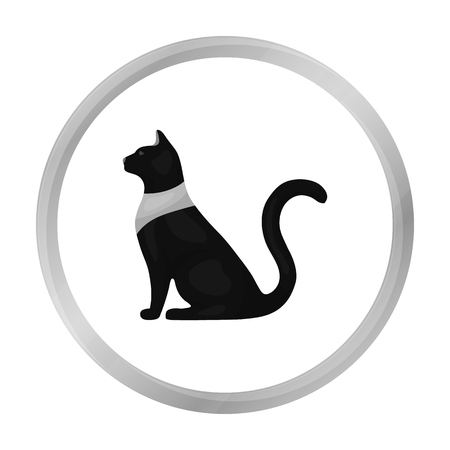 cat goddess: Cat goddess Bastet icon in monochrome style isolated on white background. Ancient Egypt symbol stock vector illustration. Illustration