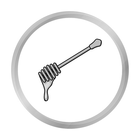 dipper: Honey dipper icon in monochrome style isolated on white background. Apiary symbol stock vector illustration