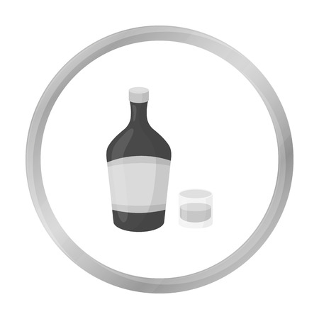liqueur: Liqueur icon in monochrome style isolated on white background. Alcohol symbol stock vector illustration.
