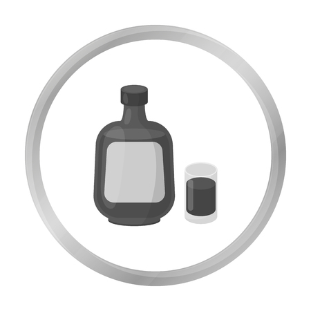 liqueur: Herbal liqueur icon in monochrome style isolated on white background. Alcohol symbol stock vector illustration. Illustration