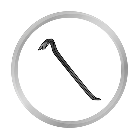 pry: Crowbar icon in monochrome style isolated on white background. Crime symbol stock vector illustration.