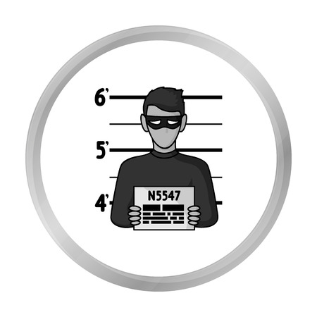 Prisoners photography icon in monochrome style isolated on white background. Crime symbol stock vector illustration.