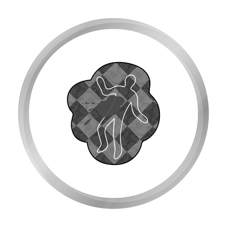 fatality: Scene of the crime icon in monochrome style isolated on white background. Crime symbol stock vector illustration. Illustration