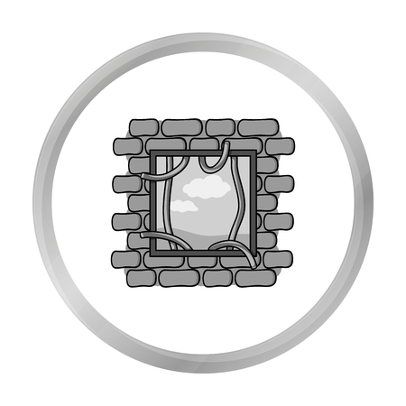 jailbreak: Prison escape icon in monochrome style isolated on white background. Crime symbol stock vector illustration. Illustration