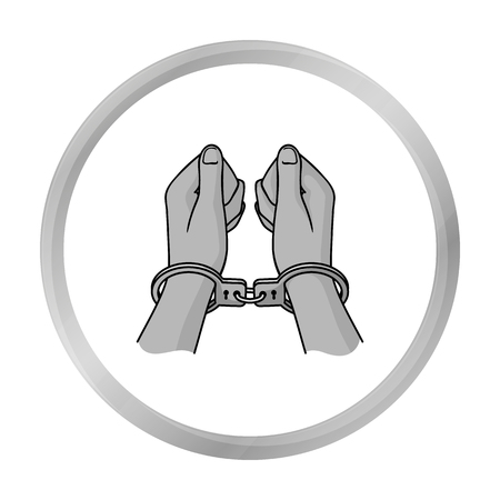 Hands in handcuffs icon in monochrome style isolated on white background. Crime symbol stock vector illustration.