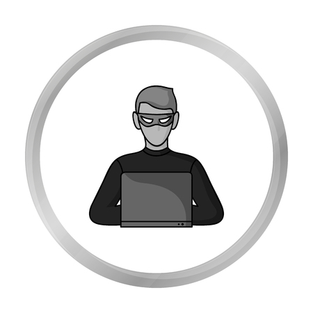 stealing data: Hacker icon in monochrome style isolated on white background. Crime symbol stock vector illustration. Illustration
