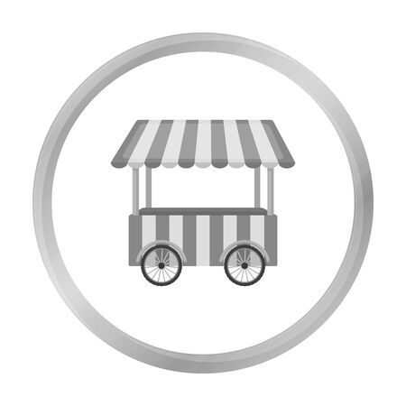 Snack cart icon in monochrome style isolated on white background. Circus symbol stock vector illustration. Illustration
