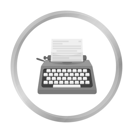 type writer: Typewriter icon in monochrome style isolated on white background. Films and cinema symbol stock vector illustration. Illustration