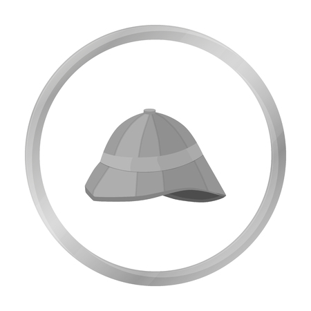 médula: Pith helmet icon in monochrome style isolated on white background. England country symbol stock vector illustration.