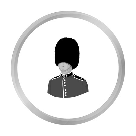 Queen s guard icon in monochrome style isolated on white background. England country symbol stock vector illustration. Illustration