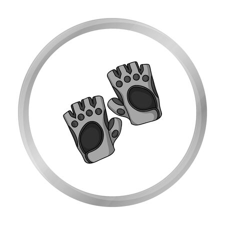 Gym gloves icon in monochrome style isolated on white background. Sport and fitness symbol stock vector illustration. Illustration